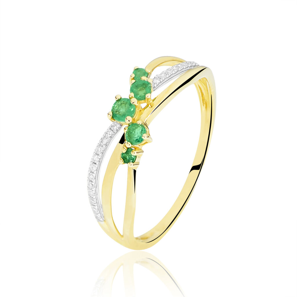 Bague Amarylis Or Jaune Emeraude Diamant