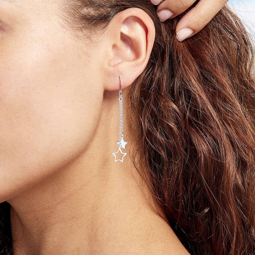Boucles D'oreilles Pendantes Juliette Argent Blanc - Boucles d'Oreilles Etoile Femme   Histoire d'Or
