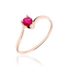Bague Or Rose Rubis - Bagues solitaires Femme | Histoire d'Or
