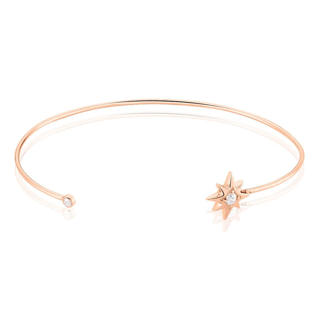 Bracelet Jonc Lisboa Argent Rose Oxyde De Zirconium - Bijoux Etoile Femme | Histoire d'Or