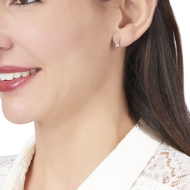 Boucles D'oreilles Puces Odella Argent Blanc Oxyde De Zirconium - Boucles d'oreilles fantaisie Femme   Histoire d'Or