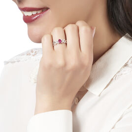 Bague Andrey Or Blanc Rubis Et Diamant - Bagues Croix Femme | Histoire d'Or