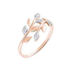 Bague Emelyne Or Rose Diamant - Bagues Plume Femme   Histoire d'Or