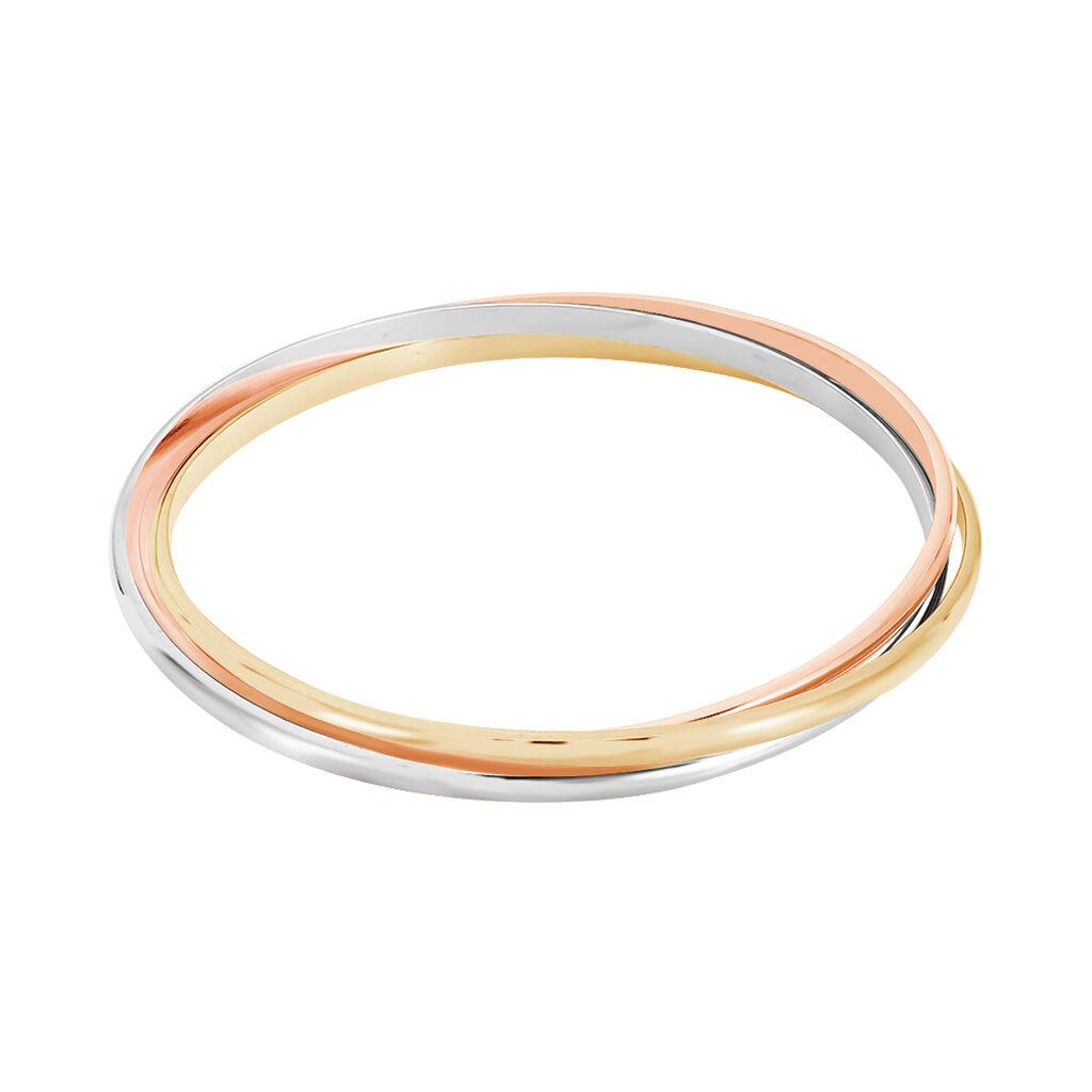 Bracelet Jonc Annie-france Plaque Or Tricolore - Bracelets joncs Femme   Histoire d'Or