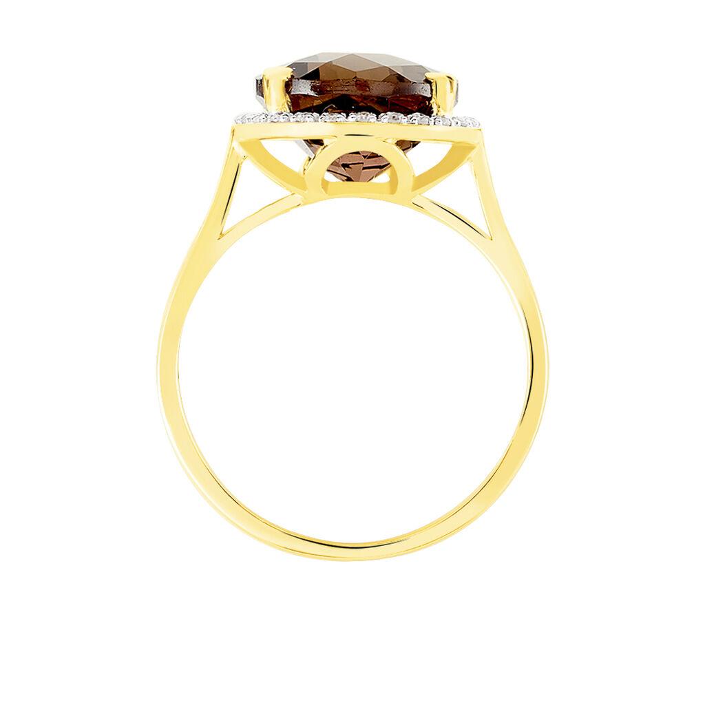 Bague Anna Or Jaune Quartz Et Diamant -  Femme   Histoire d'Or
