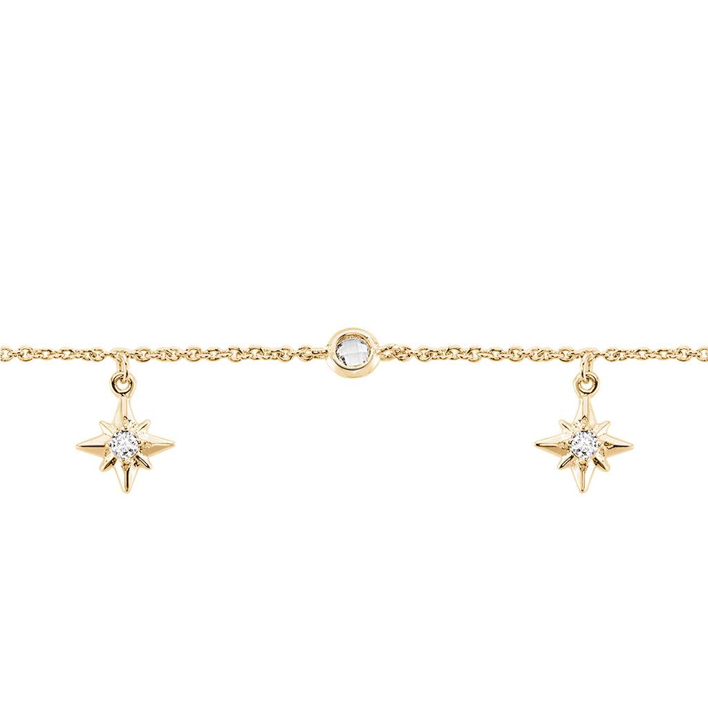 Chaîne De Cheville Lenka Plaque Or Jaune Oxyde De Zirconium - Bijoux Etoile Femme | Histoire d'Or