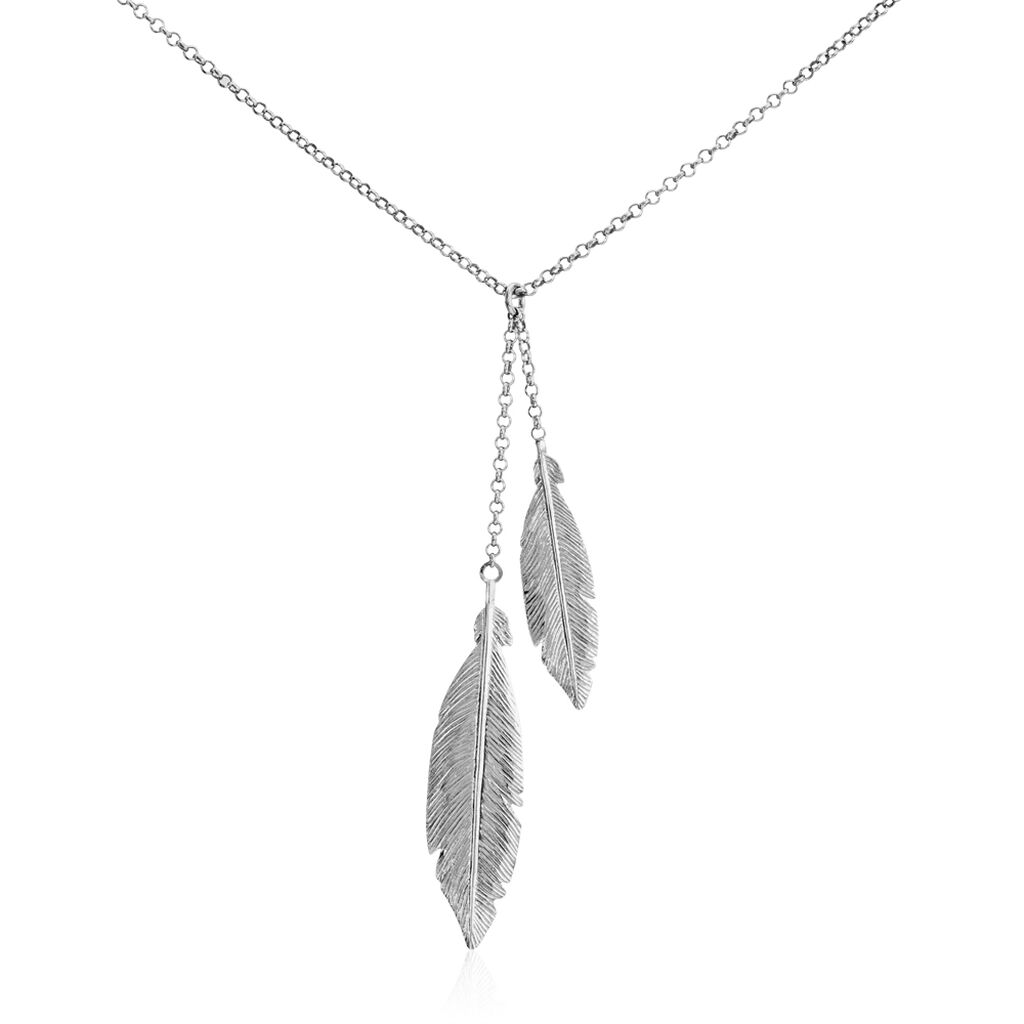 Collier Euriell Argent Blanc - Colliers Plume Femme   Histoire d'Or