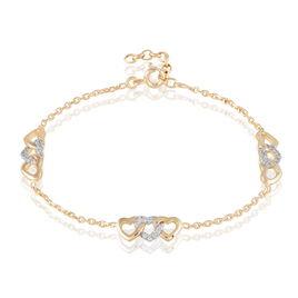 Bracelet Basmala Plaque Or Jaune Oxyde De Zirconium - Bracelets Coeur Femme | Histoire d'Or