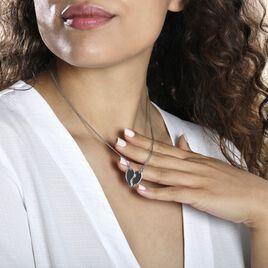 Collier Abrar Argent Blanc - Colliers Coeur Femme   Histoire d'Or