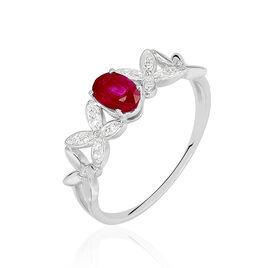 Bague Andrey Or Blanc Rubis Diamants - Bagues Croix Femme | Histoire d'Or