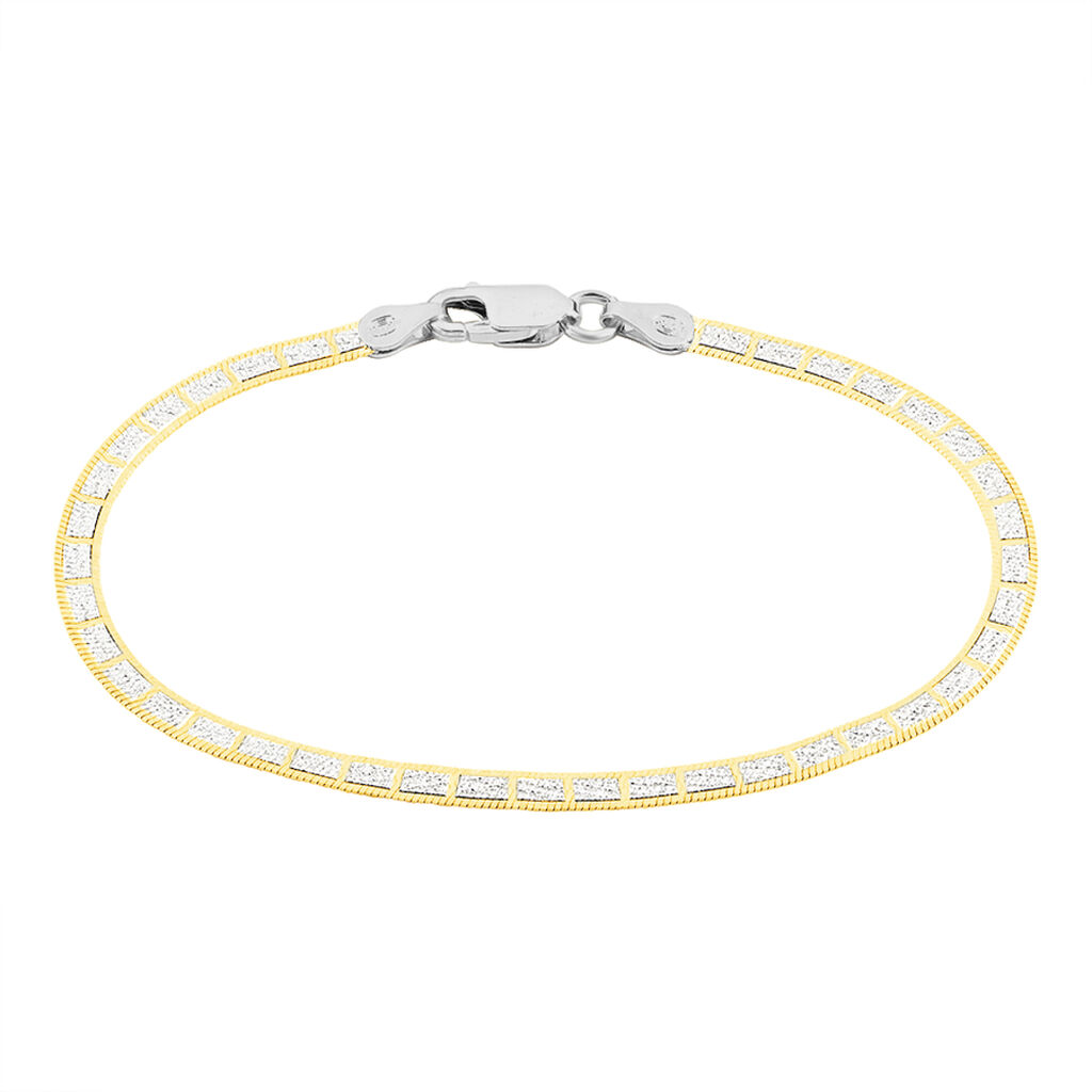 Bracelet Nuriaae Maille Heringbone Argent Jaune - Bracelets chaîne Femme   Histoire d'Or