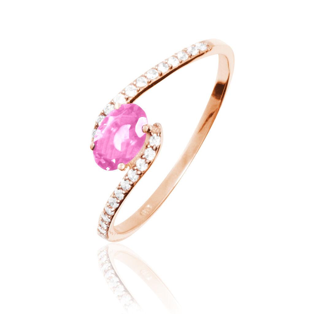 Bague Loriane Or Rose Tourmaline Et Diamant - Bagues avec pierre Femme   Histoire d'Or