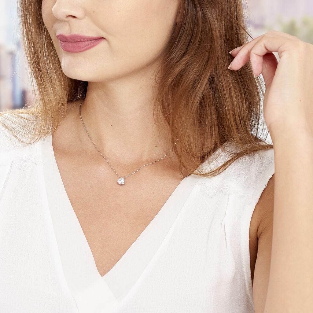 Collier Cherice Argent Blanc Oxyde De Zirconium - Colliers Coeur Femme | Histoire d'Or