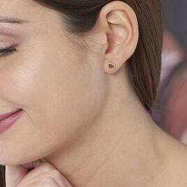 Boucles D'oreilles Puces Delvinaae Argent Blanc Ambre - Boucles d'Oreilles Coeur Femme | Histoire d'Or