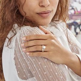 Bague Double Jeu Plaque Or Jaune Oxyde De Zirconium - Bagues solitaires Femme | Histoire d'Or