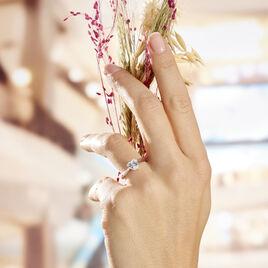 Bague Solitaire Argent Rhodie Geranium Oxyde De Zirconium - Bagues Coeur Femme   Histoire d'Or