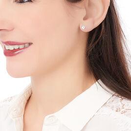 Boucles D'oreilles Puces Eve Argent Blanc Oxyde De Zirconium - Boucles d'oreilles fantaisie Femme   Histoire d'Or