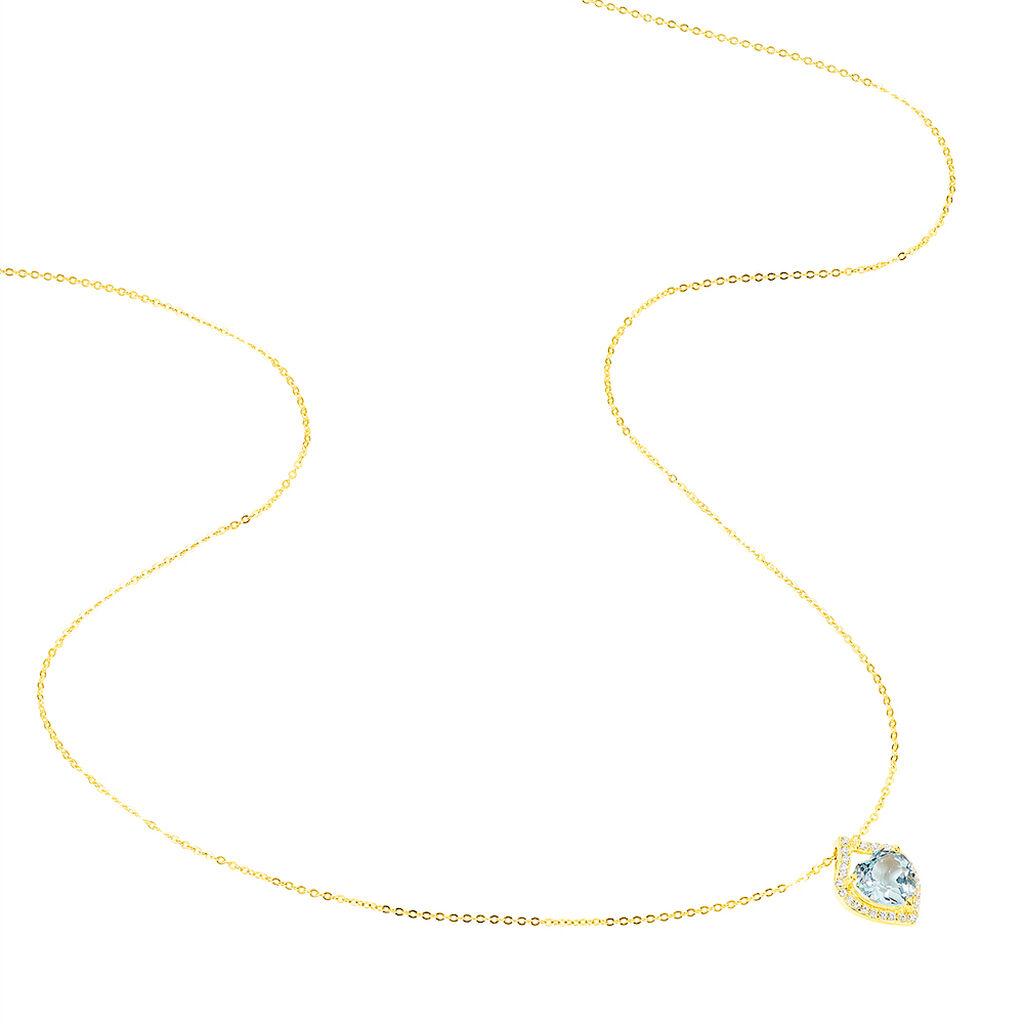 Collier Rosaline Or Jaune Topaze Et Oxyde De Zirconium - Colliers Coeur Femme | Histoire d'Or