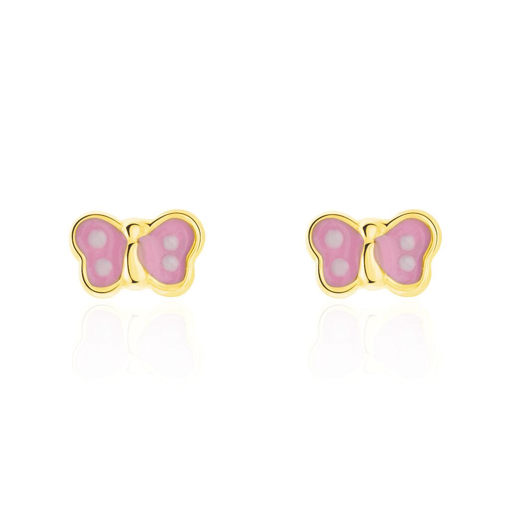 Boucles D'oreilles Puces Papillon Rose Or Jaune - Boucles d'Oreilles Papillon Enfant | Histoire d'Or