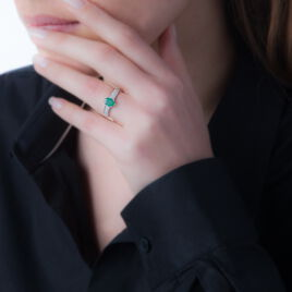 Bague Crista Or Blanc Emeraude Et Diamant - Bagues avec pierre Femme   Histoire d'Or