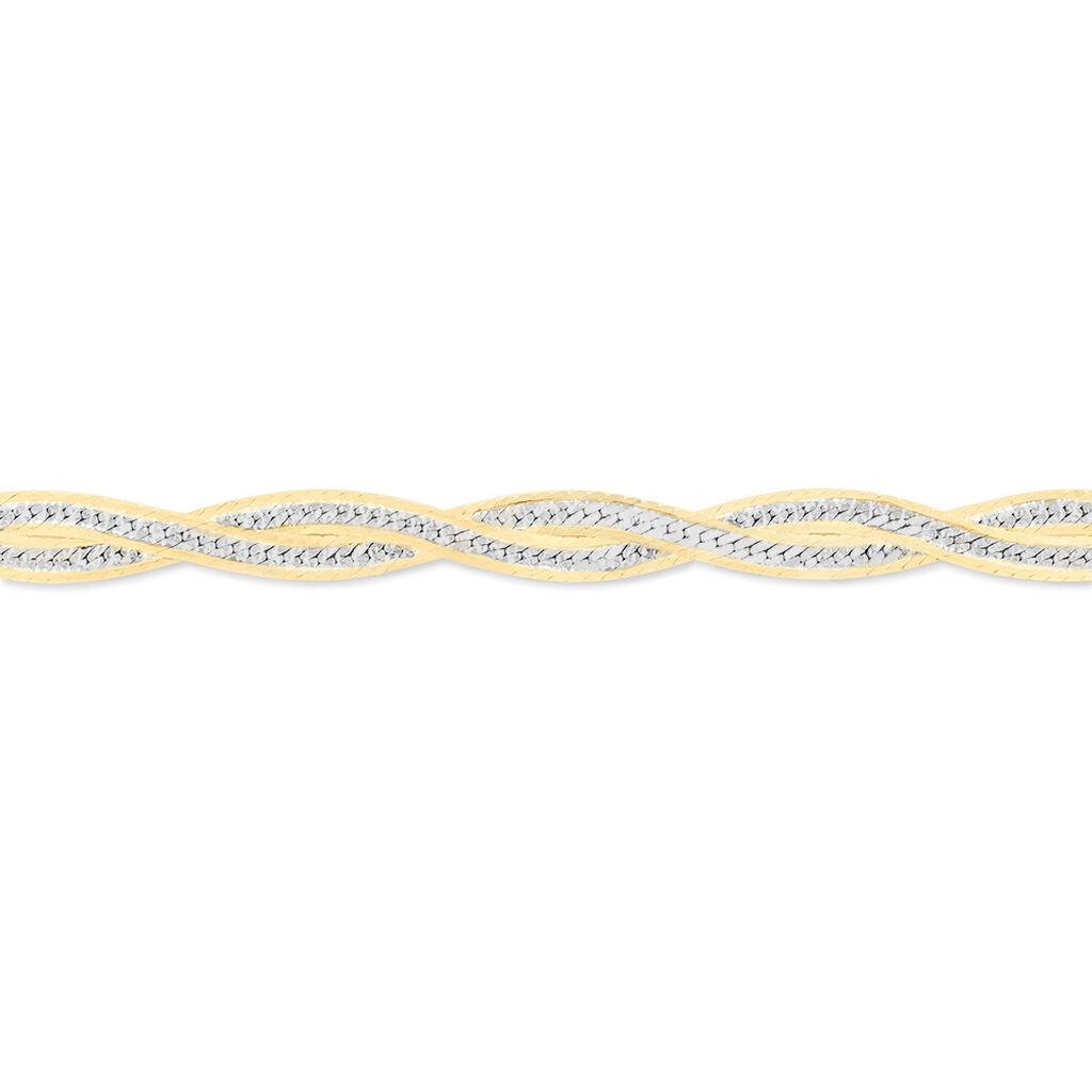 Bracelet Anaiz Maille Tresse Argent Bicolore - Bracelets chaîne Femme | Histoire d'Or