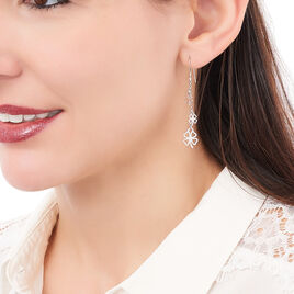 Boucles D'oreilles Pendantes Nedira Argent Blanc - Boucles d'Oreilles Trèfle Femme | Histoire d'Or