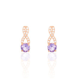 Boucles D'oreilles Pendantes Berenice Or Rose Amethyste Et Oxyde - Boucles d'oreilles pendantes Femme | Histoire d'Or