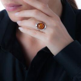 Bague Berthine Argent Blanc Ambre - Bagues solitaires Femme | Histoire d'Or