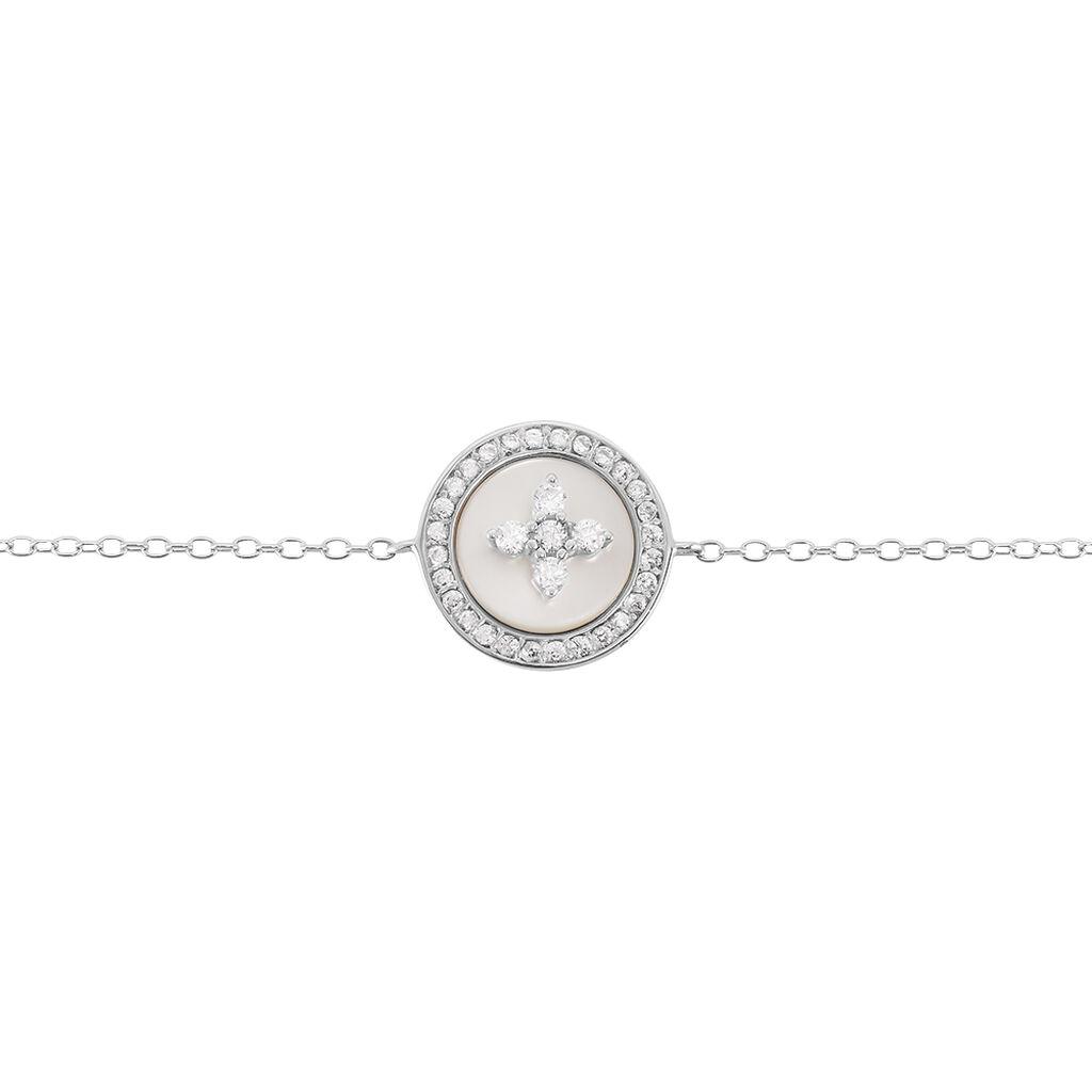 Bracelet Pelina Argent Blanc Oxyde De Zirconium Nacre - Bracelets Trèfle Femme   Histoire d'Or