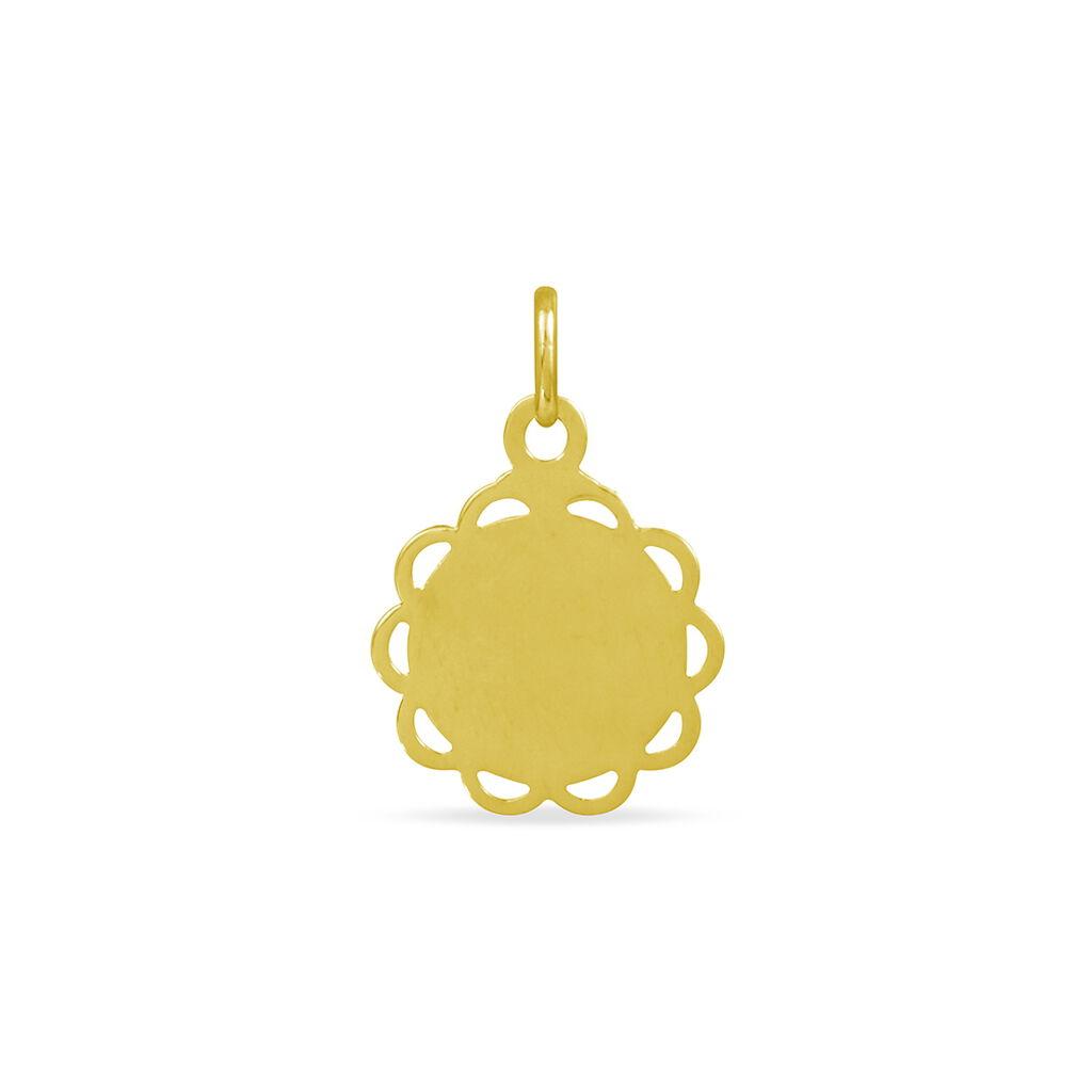 Pendentif Vierge Rond Dentelle Or Jaune - Bijoux Vierge Famille   Histoire d'Or