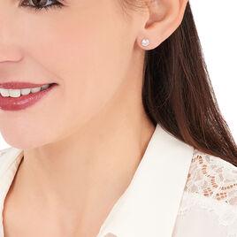 Boucles D'oreilles Puces Daria Serti Clos Or Blanc Oxyde De Zirconium - Clous d'oreilles Femme   Histoire d'Or
