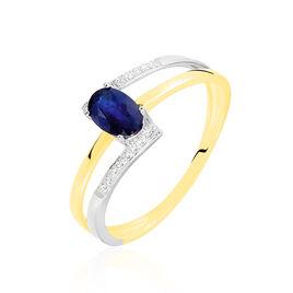 Bague Or Bicolore Saphir Et Diamant - Bagues solitaires Femme   Histoire d'Or