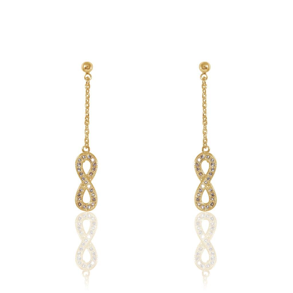 Boucles D'oreilles Pendantes Marie-augusta Plaque Or Oxyde - Boucles d'Oreilles Infini Femme   Histoire d'Or