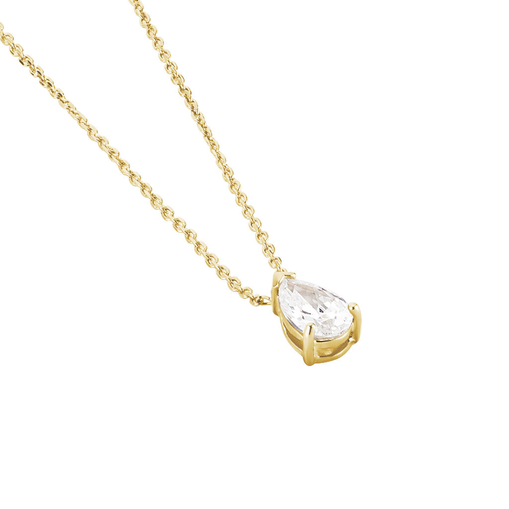 Collier Ea Plaque Or Jaune Oxyde De Zirconium