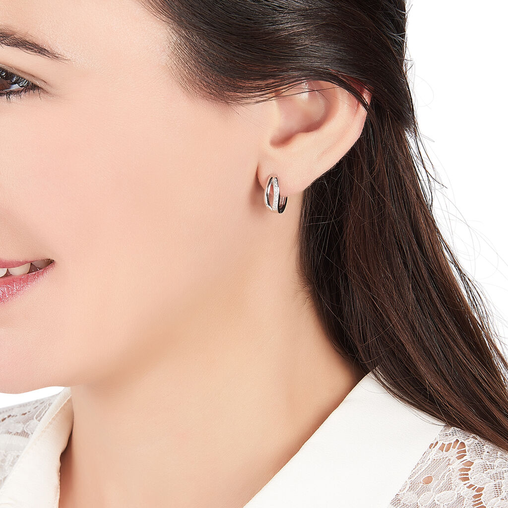 Créoles Celimene Rondes Argent Blanc Oxyde De Zirconium - Boucles d'oreilles créoles Femme | Histoire d'Or