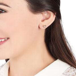 Boucles D'oreilles Puces Aysegül Plaque Or Jaune Oxyde De Zirconium - Boucles d'Oreilles Coeur Femme | Histoire d'Or