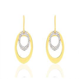 Boucles D'oreilles Pendantes Adine Or Bicolore - Boucles d'oreilles pendantes Femme   Histoire d'Or