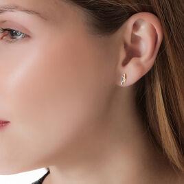 Boucles D'oreilles Puces Ysambreae Or Bicolore Oxyde De Zirconium - Clous d'oreilles Femme   Histoire d'Or