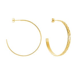 Créoles Abram Acier Jaune - Boucles d'oreilles créoles Femme | Histoire d'Or