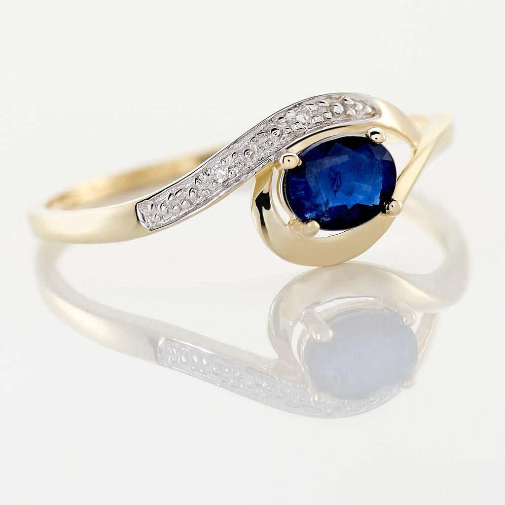 Bague Sagesse Or Jaune Saphir Et Diamant - Bagues solitaires Femme | Histoire d'Or