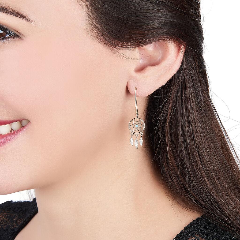 Boucles D'oreilles Pendantes Attrape Reves Plaque Or Pierre - Boucles d'Oreilles Attrape rêves Femme | Histoire d'Or