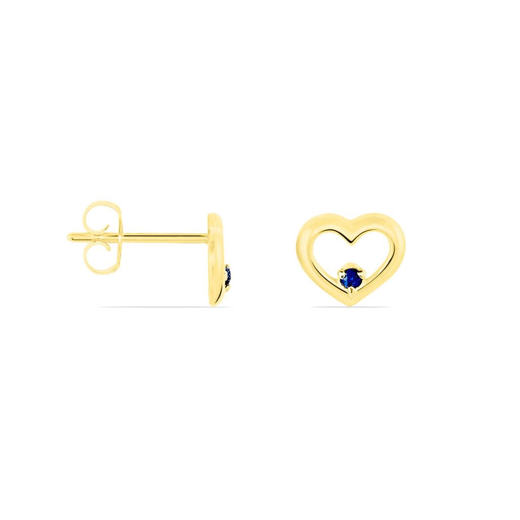 Boucles D'oreilles Puces Martella Or Jaune Saphir - Boucles d'Oreilles Coeur Femme | Histoire d'Or