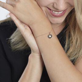 Bracelet Xaverie Argent Rose Oxyde - Bracelets Coeur Femme   Histoire d'Or