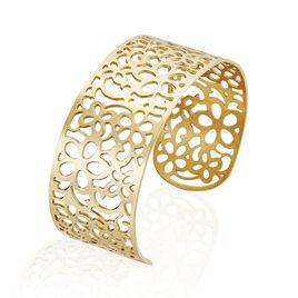 Manchette Acier Dore Fleurs Ajourees - Bracelets fantaisie Femme | Histoire d'Or