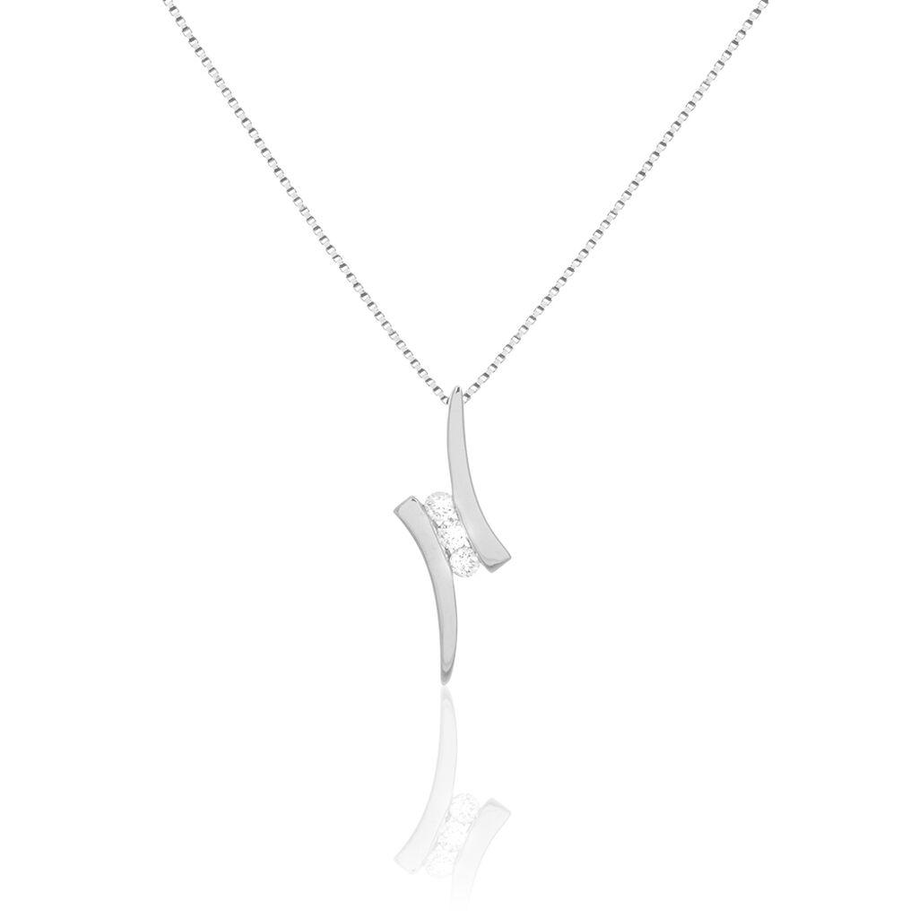 Collier Benilde Or Blanc Diamant - Bijoux Femme   Histoire d'Or