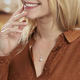 Collier Shirine Argent Blanc Perle De Culture Et Oxyde De Zirconium - Colliers fantaisie Femme   Histoire d'Or