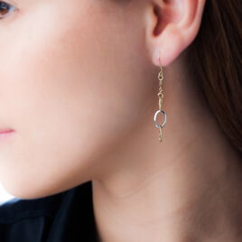 Boucles D'oreilles Pendantes Lucette Or Bicolore - Boucles d'oreilles pendantes Femme | Histoire d'Or