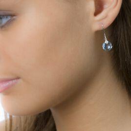Boucles D'oreilles Pendantes Marie-philippeae Or Blanc Topaze Diamant - Boucles d'oreilles pendantes Femme | Histoire d'Or