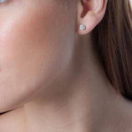 Boucles D'oreilles Puces Kahili Or Jaune Strass - Clous d'oreilles Femme   Histoire d'Or