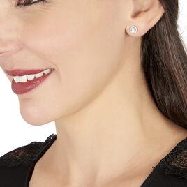 Boucles D'oreilles Puces Rosalie Or Blanc Oxyde De Zirconium - Clous d'oreilles Femme   Histoire d'Or